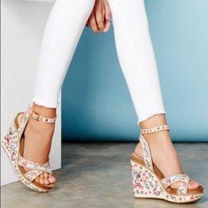 da70b350536 Gianni Bini Shoes - Gianni Bini Lusia Floral Embroidered Wedge Sandals